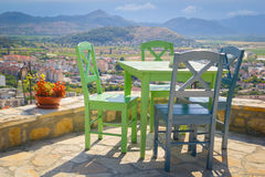 Terrace and colored chairs panorama view Stock Images