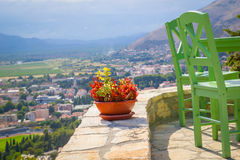 Terrace and colored chairs panorama view Stock Photos