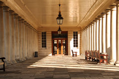 Terrace with columns with benches. Architectural details Royalty Free Stock Photo