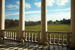 Terrace with columns facing park. Architectural details Stock Images