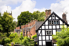 Terrace of Cottages in the Picturesque Town of Sandbach in South Cheshire England Stock Photo