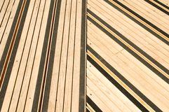 Terrace covered with floorboards Stock Photos