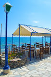 Terrace in crete Royalty Free Stock Images