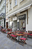 Terrace on Downtown of Bratislava in Slovakia stock photo
