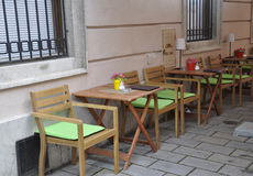 Terrace on Downtown of Bratislava in Slovakia Stock Images