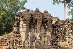 Terrace of the Elephants at Angkor Wat historical complex. Stock Photos