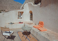 Terrace in Emporio, Santorini, Greece Royalty Free Stock Image
