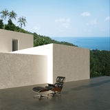Terrace expensive villa located on the hill above the ocean and Stock Image