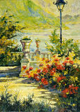 Terrace with flowers and a lantern Royalty Free Stock Photo