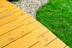 Terrace in formal garden after power washing - bright green lawn Royalty Free Stock Photography