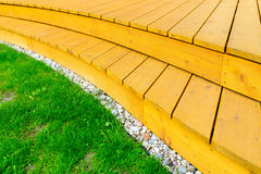 Terrace in formal garden after power washing - bright green lawn Stock Images
