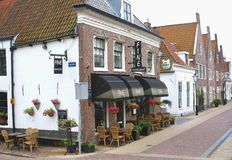 Cosy terrace in fortress city Naarden (Unesco), Netherlands Royalty Free Stock Image