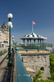 Terrace in front of Chateau Frontenac. Terrace and shelter in front of Chateau Frontenac, Quebec City Stock Photos