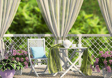 Terrace in the garden with curtains. And flowers Royalty Free Stock Photography