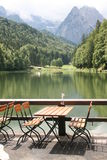 Terrace in the german Alps Stock Image