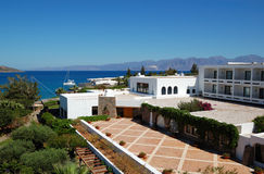 The terrace of Greek luxury hotel Stock Images