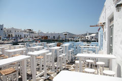 Terrace of a greek restaurant Royalty Free Stock Images