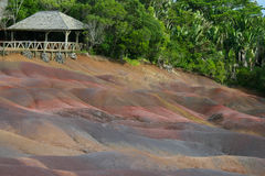 Terrace on the ground. This is the Seven Colours Earth at Chamarel, Mauritius Island Stock Photo