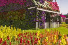 Terrace house of flowers and colorful lawn Royalty Free Stock Photo