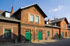 Terrace house made of red bricks. Old workers' colony, Vitkovice, Ostrava, Czech Republic - townhouses built by red bricks for local workers in ironworks stock photos
