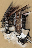 Terrace house in Provence. drawing. Sunny summer terrace house in Provence. France. summer. chaise longue. stone wall. freehand drawing. pastel. pencil. beige Royalty Free Stock Photography