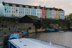 Terrace of Houses and Narrow Boats on Bristol Dockyard Royalty Free Stock Images