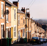 Terrace houses and satellite dishes, Nottingham. Royalty Free Stock Photo