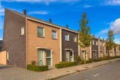 Terrace Houses Street. Modern Terraced Houses in a New Neighborhood Stock Image