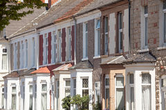 Terrace housing Cardiff Wales. Rows of terrace houses in the UK city of Cardiff stock photo