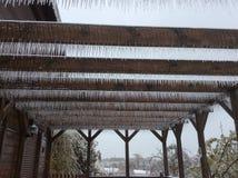 Terrace in ice. Brown terrace in ice Stock Photo