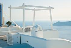 Terrace of Imerovigli, Santorini, Greece Stock Image