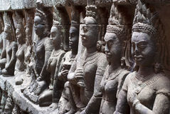 Terrace of the Leper King. Ornate bas-reliefs at the Terrace of the Leper King, in the premises of Angkor Thom, Cambodia Stock Photo