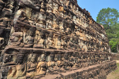 Terrace of Leper King in Angkor Thom temple  in  Cambodia. Stock Photo