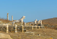 The Terrace of the Lions, Delos, Greece Royalty Free Stock Images