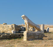 The Terrace of the Lions, Delos island, Greece stock photo