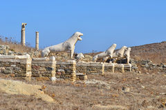 The Terrace of the Lions on Delos island in Greece Royalty Free Stock Photography