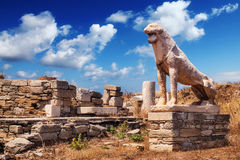 The Terrace of the Lions on Delos island Stock Images
