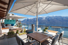 Terrace of a luxury house. Beautiful terrace of a luxury house, lake view Stock Images