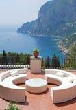 Terrace of luxury villa, Italy stock photography