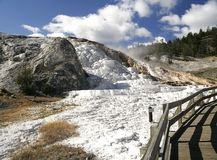 Terrace in Mammoth Hot Springs in Yellowstone NP. View of terrace in Mammoth Hot Springs in Yellowstone Stock Photo