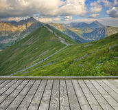 Terrace and mountain Royalty Free Stock Photos