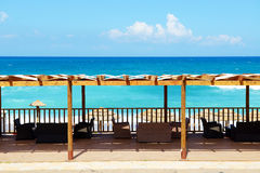 The terrace near beach on Ionian Sea at luxury hotel Royalty Free Stock Photography