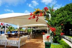 The terrace near beach at luxury hotel Stock Image