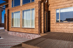 Terrace of a new wooden house. Stock Images