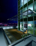 Terrace at night. Illustration of a husing terrace on night Stock Photo