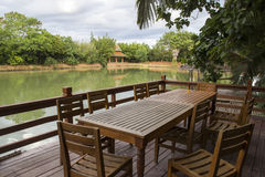 Terrace Of Waterfront Restaurant Royalty Free Stock Photo