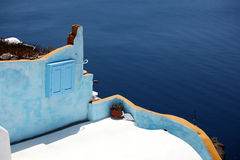 Terrace of Oia, Santorini, Greece. Stock Photography