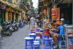 Terrace in the old quarter, Hanoi, Vietnam Stock Photography