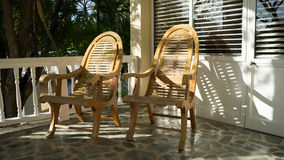 Terrace outdoor chairs Royalty Free Stock Photos