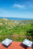Terrace of outdoor restaurant with panoramic view Royalty Free Stock Images